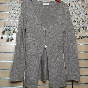 Vintage Soft Surroundings tan knit tunic cardigan